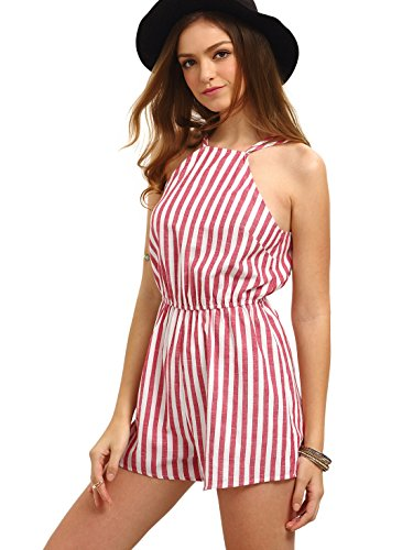 Romwe Women's Casual Striped Sleeveless Halter Sexy Short Romper Jumpsuit Red S