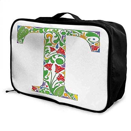 Letter T Luggage trolley bag Red Blossoms and Green Leaves Vibrant Colors Letter T Capital Initial with Swirls Waterproof Fashion Lightweight Multicolor