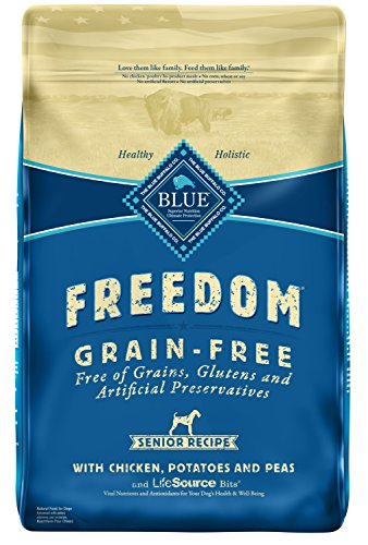 Blue Buffalo Freedom Grain Free Natural Senior Dry Dog Food, Chicken 11-lb