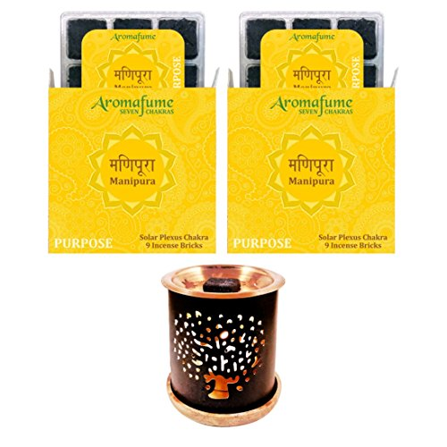 - Aromafume 7 Chakra Manipura Incense Bricks & Tree of Life Incense Burner