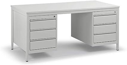 Escritorio de taller gris claro – L x P 1600 x 800 mm cajones 6 x 140
