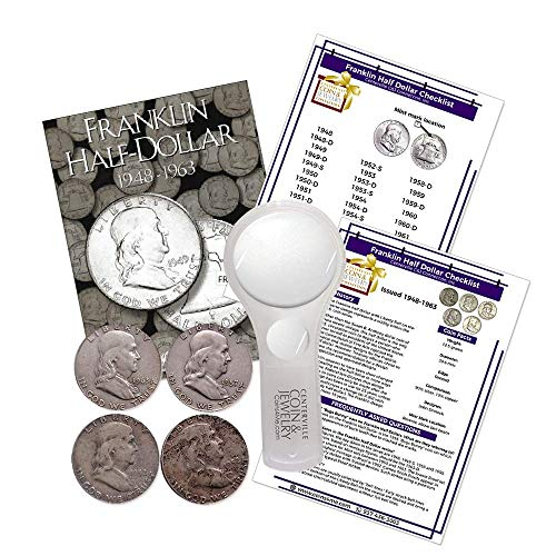 Franklin Half Dollar Starter Collection Kit, H.E. Harris [2695] Franklin Half Dollar Folder 1948-1963, Four Silver Halves, Magnifier and Checklist, (7 Items) Great Start for Beginner Collectors