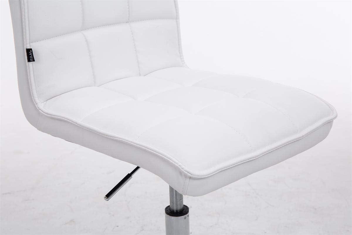 CLP Sedie Design Peking V2 Similpelle I Sedia Sala Pranzo Regolabile 40-54 CM I Sedia Poltrona Imbottita Girevole Colore:bianco