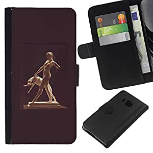 ZCell / HTC One M9 / Statue Woman Naked Nude Dog Ancient God / Caso Shell Armor Funda Case Cover Wallet / Estatua mujer desnudo Perro Antiguo Dio
