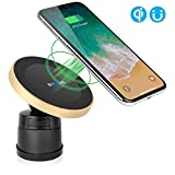 XINLON Magnetic Wireless Car Charger,Wireless Charging for Samsung S8 S8+ S8 Plus S7 S7 Edge S6 Edge Plus Note 5 Note 7 Note 8、Apple iPhone X/8/8 Plus and All QI-Enabled Devices(Golden)