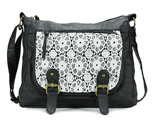 [Scarleton Trendy Lace Style Crossbody Bag H191001 - Black] (Messenger Bag Purse)