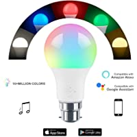 HaoDeng WiFi LED Light Bulb B22 -Timer & Sunrise & Sunset - Dimmable, Multicolor, Warm White - 45w Equivalent(4.5W), No Hub Required, Compatible with Alexa, Google Home Assistant and IFTTT(New)