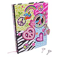 """Hot Focus Peace Secret Diary with Lock - 7"""" Journal Notebook with 300 Double Sided Lined Pages, Padlock and Two Keys for Kids"""