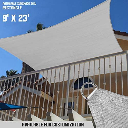 TANG Sunshades Depot 9' x23' Sun Shade Sail Square Permeable Canopy Light Grey/Gray Custom Commercial Standard 180 GSM HDPE