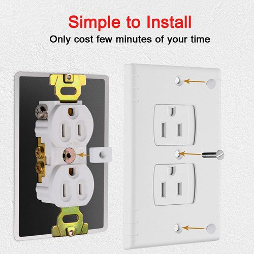 Electrical Outlet Covers, Nuaele Universal Baby Proof Self-Closing Switch Wall Plate Cover, Extra Safe Retardant Child Safety Guards Wall Socket Plug Outlet Protectors, BPA-Free, White (4 Pack)