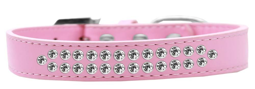 Mirage Pet Products Two Row Clear Crystal Light Pink Dog Collar, Size 20 by Mirage Pet Products
