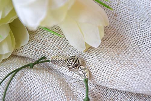 (Flower and leaves link string bracelet summer rose)