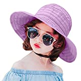 PT FASHIONS Summer Wide Brim Braided Foldable Sun Hat Beach UPF 50+ Roll up Cord Packable Floppy Visor Cap Women Kids-Kpurple