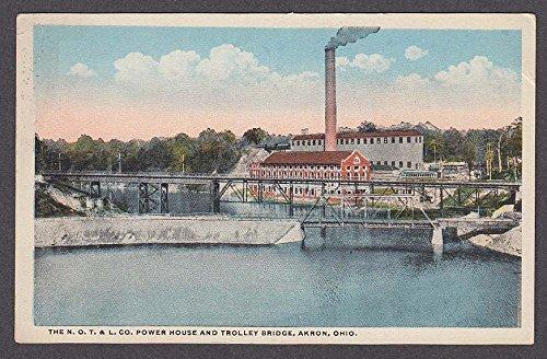 North Ohio Traction & Lighting Co Power House & Trolley Bridge Akron OH postcard