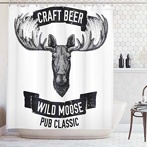 (Ambesonne Man Cave Decor Shower Curtain by, Craft Beer Wild Moose Pub Classic Antelope Deer Head with Antlers Label, Fabric Bathroom Decor Set with Hooks, 70 Inches, Black and White)