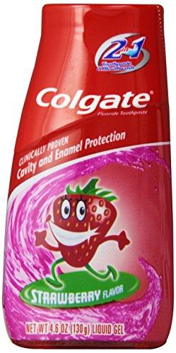 Colgate Enfants 2 en 1 dentifrice et rince-bouche, Fraise, gel liquide, 4,6 onces (130 g)