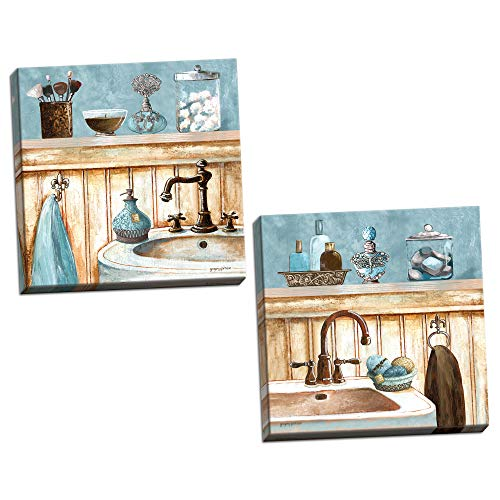 (Gango Home Decor Powder Blue Bathroom Still Life Scenes; Two 12x12in Stretched Canvases; Ready to Hang!)