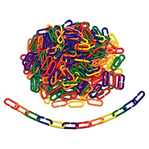 Hyamass 200pcs Rainbow Link C-clips Hooks Chain Links C-links Children's Learning Toy Small Pet Rat Parrot Bird Toy 36