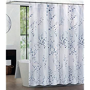 This Item Tahari Fabric Shower Curtain Blue Silver White 72 X
