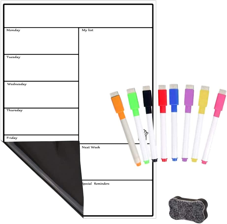 Large Organizer for Refrigerator Kitchen Office Black 16.5x11.8 Monthly /& Weekly Magnetic Whiteboard Planner Board Magnetic Dry Erase Calendar Board for Fridge A3 by Lobzon