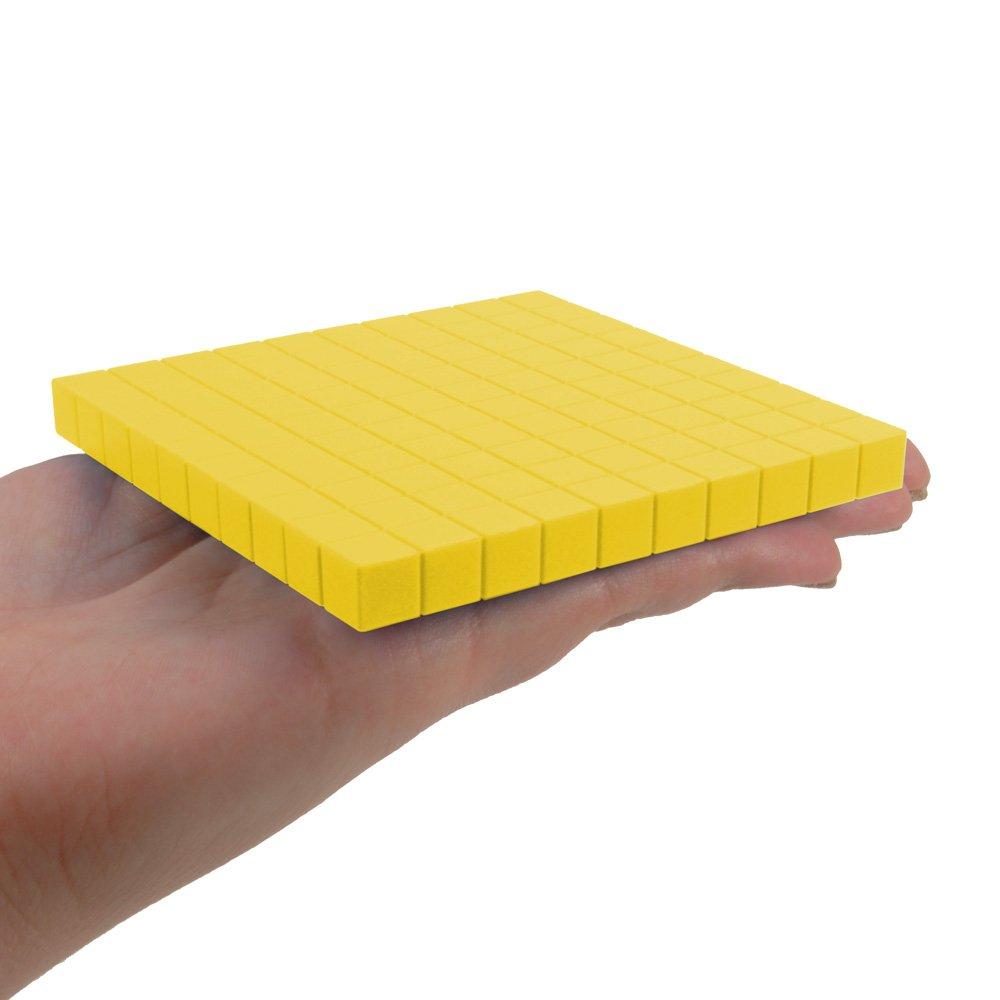 EAI Education Base Ten Flats Set of 10 Yellow Plastic