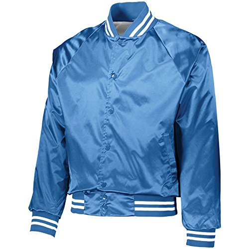 Nylon Striped Gloves (Augusta Activewear Satin Baseball Jacket/Striped Trim, Columbia Blue/White, X Large)