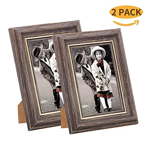 Msicyness 4x6 Picture Frame for Wall Mounting 2 Pack Vintage Color Photo Frames with Mat Decor for Standing TableTop Display (Ledge Mat)