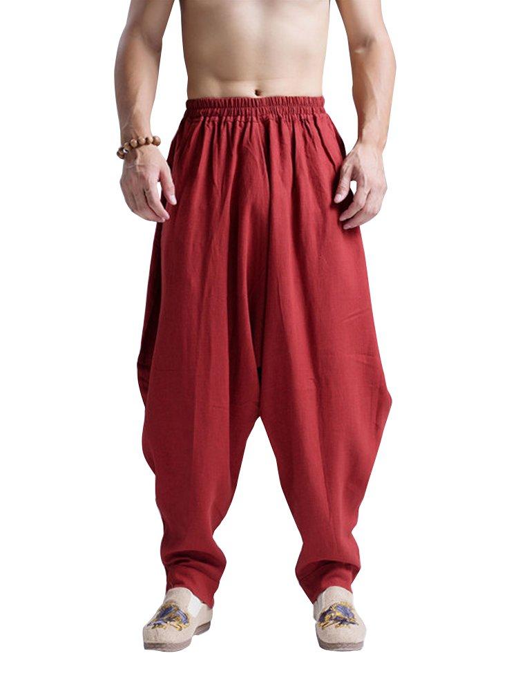 fd4e1d1190d7f3 OCHENTA Men's Elastic Baggy Hippie Boho Gypsy Aladdin Yoga Harem Pants Dark  Red-XL