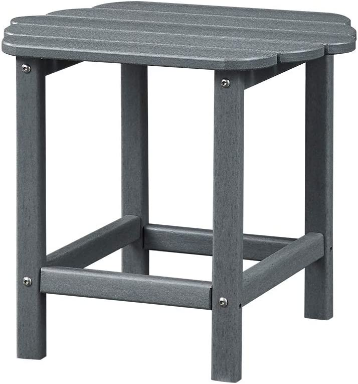 Ehomexpert Outdoor Side Table, Adirondack Portable End/Tea Table for Yard,Garden or Any Screen Patio, HDPE Hard Plastic Weather Resistant, Grey