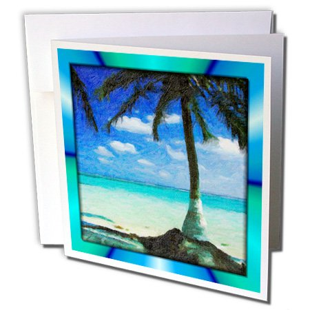 3dRose Painted Palm Tree - Greeting Cards, 6 x 6 inches, set of 12 (gc_48101_2)