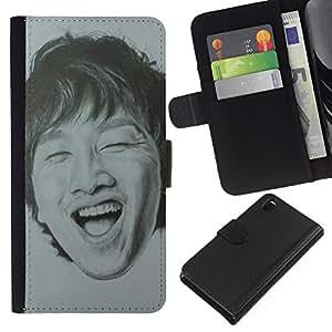 Riendo dientes Retrato de hombre- la tarjeta de Crédito Slots PU Funda de cuero Monedero caso cubierta de piel Para Sony Xperia Z3 D6603
