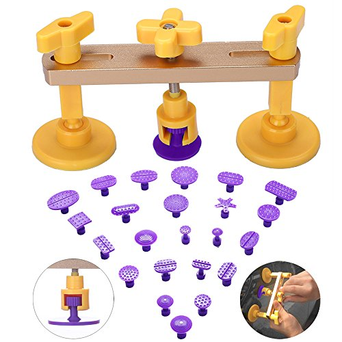 gliston bridge dent puller kitauto body dent removal tools pops a dent u0026 ding pdr tools with 24pcs different size pdr glue tabs