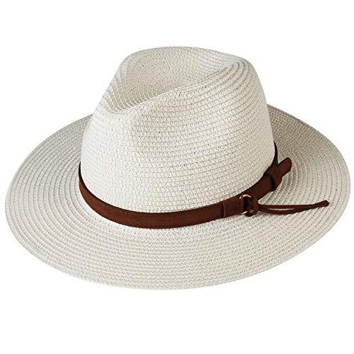 (Womens Wide Brim Straw Panama Hat Fedora Summer Beach Sun Hat UPF(Style Beige, M))