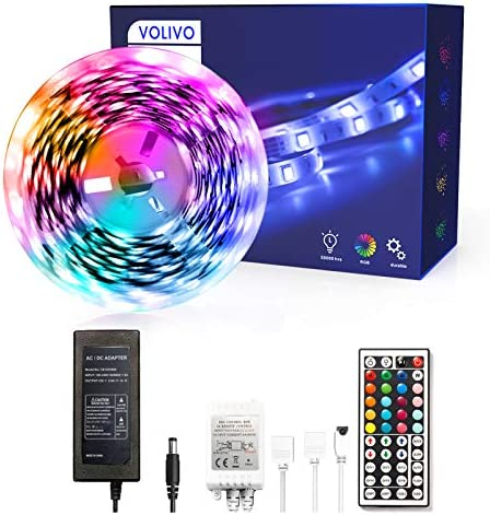 Volivo Led Strip Lights 16.4ft, 1 Roll of 16.4ft Led Lights for Bedroom, Flexible Color Changing with 44 Key IR Remote for Room Home Kitchen Bed for Home Decoration