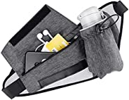 Powey Running Belt with Water Bottle Holder, Waist Pack Bag Waterproof with Hydration Belt Holder and Reflecti