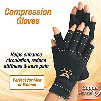 9dee752e1b Careopody Copper Gloves, Fingerless, Compression Copper Infused  Embellishments, Soothing Relief for Arthritis,