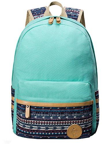 H HIKKER-LINK Cute Pattern Backpack School Laptop Book Bag Rucksack Water Blue