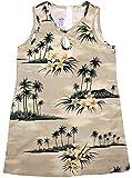 RJC Girl's Plumeria Island Short Tank Hawaiian Dress, Khaki, 10