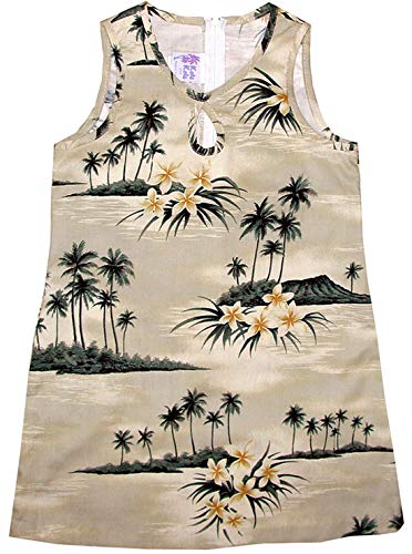 RJC Girl's Plumeria Island Short Tank Hawaiian Dress, Khaki, 10 by RJC