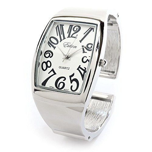 Silver Metal Large Rectangle Face Women's Bangle Cuff Watch - Womens Rectangle Bangle Watch