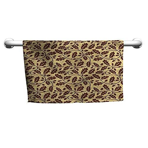 flybeek Towel Yellow and Brown,Oak Leaf Acorn,Towel bar for Glass Shower Door