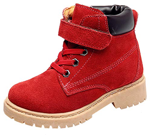 DADAWEN Boy's Girl's Classic Waterproof Leather Outdoor Strap Winter Boots (Toddler/Little Kid/Big Kid) Red US Size 3.5 M Big Kid (Red Fashion Cowboy Boots)