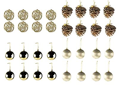 Juvale 32-Pack Christmas Tree Ornaments Set - Assorted Gold Shatterproof Christmas Balls Pine Cones Decoration, 4 Festive Holiday Designs, Hanging Plastic Bauble Decor