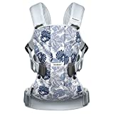BabyBjorn Baby Carrier One-Leaf Print/Pale Blue, Cotton Mix