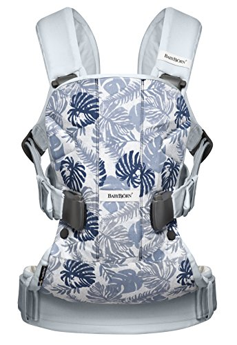BABYBJORN Baby Carrier One - Leaf Print/Pale Blue, Cotton (Limited Edition Color) by BabyBjörn