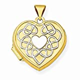 14k Two-Tone Gold 18mm Heart Of Gold Locket Pendant (19 x 24 mm)