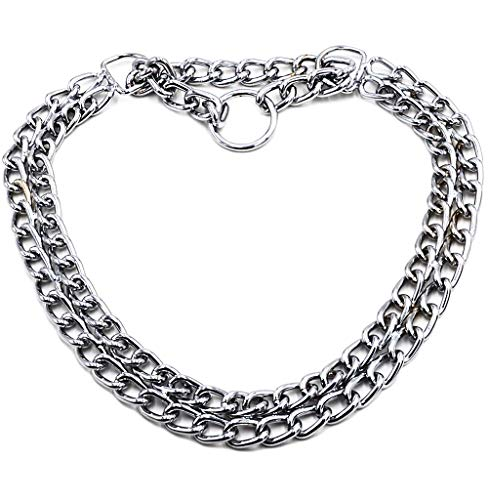 GUXL Dog Martingale Pinch Choke Collar - Heavy Duty Titan Training Slip P Chain Dog Collar - Adjustable 2 Row Chrome for Small Medium and Large Dogs (XL-24, Suitable for neck19