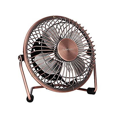 Glamouric Mini Metal Table Fan - USB Powered Quiet Desk Fan Retro Design with on/off Switch Free Angle Rotation Personal Air Circulator for Work Home School Travel (Bronze)