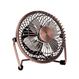 quiet mini desk fan - GLAMOURIC Mini Metal Table Fan - USB Quiet Desk Fan Retro Design with on/off Switch Free Angle Rotation Personal Fan for Work Home School Travel (Bronze)