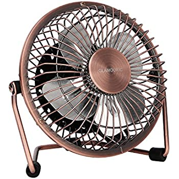Glamouric Mini Metal Table Fan   USB Powered Quiet Desk Fan Retro Design  With On/